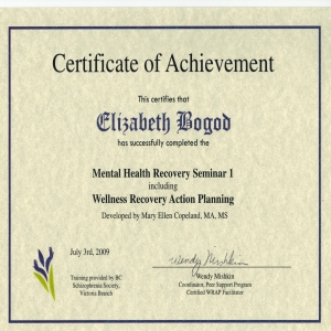 Certificate - Mental Health  Recovery & WRAP